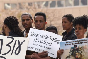 Sudanese and Etritrean asylum seekers demonstrate against Israel's plan to forcibly expel them outside the Embassy of Rwanda in Herzliya, Israel, on February 7. File Photo by Debbie Hill/UPI | License Photo