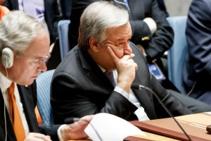 United Nations Secretary General Antonio Guterres listens to diplomats at a UN Security Council meeting on Friday. He warned that the crisis over Syria is a return to the Cold War, and increasing tensions are leading to a military escalation. Photo by Justin Lane, EPA-EFE