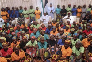 Some of the 82 released Chibok girls met Nigerian President Muhammadu Buhari (C) at the Presidential Villa in Abuja, Nigeria on May 7, 2017. The president met the girls that were released in an exchange with Boko Haram Islamist militants who abducted a group of 276 girls in north east Nigeria three years ago according to reports from the presidency. EPA/STR