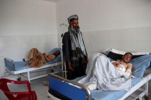 Afghan boys injured in an airstrike on a religious school get medical treatment at a hospital in Kunduz, Afghanistan, on Tuesday. Photo by Najim Raheem/EPA-EFE