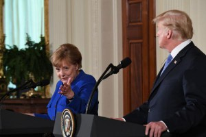 President Donald Trump meets with German Chancellor Angela Merkel in Washington, DC on April 27. Merkel said Monday that Germany may boost defense levels to 2 percent of GDP over the next decade, but not now. Photo by Pat Benic/UPI | License Photo