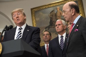 President Donald Trump speaks Thursday at the White House after canceling his June 12 summit with Kim Jong Un. Commerce Secretary Wilbur Ross (R) and Vice President Mike Pence (C) look on. Photo by Kevin Dietsch/UPI | License Photo