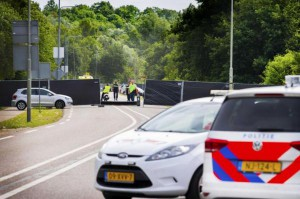 Belgian police seal off a campground Monday at the PinkPop music festival in Landgraaf, Netherlands, after a vehicle struck four people. One person died. Photo by Piroschka Van De Woun/EPA-EFE