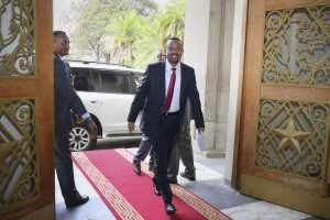 Ethiopia's Prime Minister Abiy Ahmed arrives for the swearing-in ceremony in the capital Addis Ababa, Ethiopia, in April 2017. Government officials on Saturday approved a draft for parliament asking to end the state of emergency put in place following anti-government protests after the abrupt resignation of Hailemariam Desalegne, the previous prime minister. Photo by Str/EPA