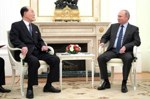 Russian President Vladimir Putin hosts Presidium of the Supreme People's Assembly of North Korea Kim Yong Nam at the Kremlin. Russia's Gazprom said Friday it was considering work on the Korean Peninsula. Photo courtesy of the office of the Russian president