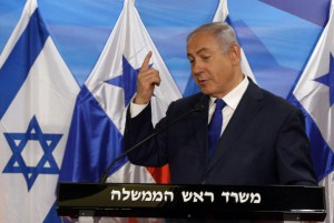 Israeli Prime Minister Benjamin Netanyahu speaks as he welcomes President of Panama Juan Carlos Varela (not shown) prior to their meeting at his Jerusalem office in Israel on May 17. Photo by Gali Tibbon/UPI | License Photo