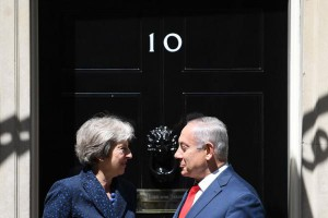 British Prime Minister Theresa May (L) greets Israeli Prime Minister Benjamin Netanyahu at Downing Street in London on Wednesday. Photo by Neil Hall/EPA-EFE