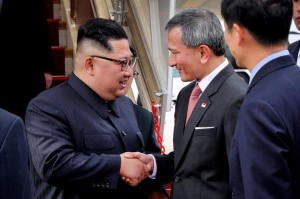 Singapore's Minister for Foreign Affairs Vivian Balakrishnan greets Kim Jong Un upon his arrival at Changi Airport on June 10. Singapore's business community is taking an interest in the Kim regime. Photo by Vivian Balakrishnan, Singapore's Foreign Minister Office/UPI | License Photo