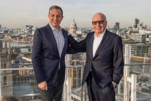 Fox owner Rupert Murdoch (R) announced Fox's new bid to acquire Sky Wednesday. He is shown with Walt Disney Co. chief executive Bob Iger. Photo by The Walt Disney Company/EPA-EFE