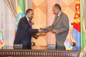 Ethiopia's Prime Minister Abiy Ahmed (L) and Eritrea's President Isaias Afewerki signed a declaration Monday to end the war between the countries. Photo courtesy of Yemane Meskel