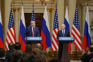 U.S. President Donald Trump speaks during a joint press conference with Russian President Vladimir Putin at the Presidential Palace in Helsinki, Finland, on Monday. Photo by David Silpa/UPI | License Photo