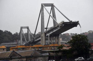 A large section of the Morandi Bridge collapsed in Genoa, Italy, Tuesday -- killing at least 22 people and burying some people in debris, officials said. Photo by Luca Zennaro/EPA-EFE