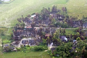 An aerial view showing the burned-out village near Maungdaw township in Rakhine State, Myanmar, on September 27, 2017. Facebook banned the accounts of several Myanmar individuals and organizations on Monday for their involvement in human rights abuses. .File Photo by Nyein Chan Niang/EPA-EFE