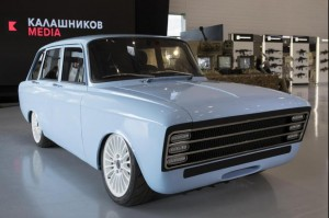 A Russian electric car, which manufacturer Kalashnikov said would rival products by companies like Tesla, was unveiled this week near Moscow. Photo courtesy Kalishnikov Media