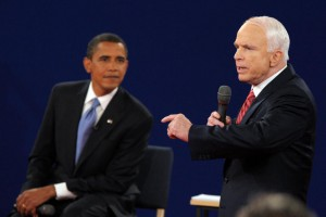 Senators Barack Obama (L) and John McCain participate in the second U.S. presidential debate at Belmont University in Nashville, Tenn., on October 7, 2008. McCain asked his political rival to deliver a eulogy at his funeral. File Photo by Roger L. Wollenberg/UPI | License Photo