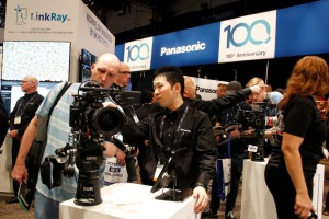 A Panasonic representative shows an attendee features on one of their new video cameras during a show at the Las Vegas Convention center in Las Vegas, Nevada, on April 9. Since then, the multinational electronics corporation has decided to move its European headquarters over the Brexit deal. File Photo by James Atoa/UPI | License Photo