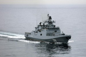Russian frigates, similar to the one pictured, gathered in the Mediterranean Sea near Syria along with at least two Russian submarines. File Photo courtesy of the British Ministry of Defense
