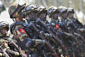 Commando soldiers stand ready for a drill on the second day of the 'Sin Phyu Shin' joint military exercises in the Ayeyarwaddy delta region, Myanmar, on February 3. The two-day military exercise was the biggest since 1997, involving several different branches of the country's armed forces. File Photo by Lynn Bo Bo/EPA-EFE