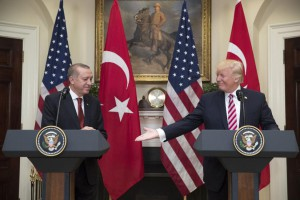 U.S. President Donald Trump and Turkish President Recep Tayyip Erdogan speak to reporters in the Roosevelt Room of the White House on May 16, 2017. Tuesday, Erdogan called for a boycott of U.S.-made electronics. File Photo NY Michael Reynolds/UPI | License Photo
