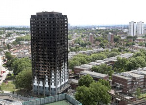 A view shows the total destruction of the 24-story Grenfell Tower building on June 16, 2017. On Thursday, a British woman admitted to stealing £60,000 ($78,000) from a victim fund. File Photo by Hugo Philpott/UPI   License Photo