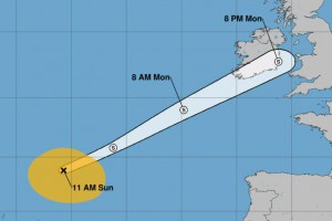 Helene, once a Category 2 hurricane, moved northeast through the Azores Islands on Sunday, and was headed to Ireland and United Kingdom as post-tropical cyclone Image courtesy NOAA