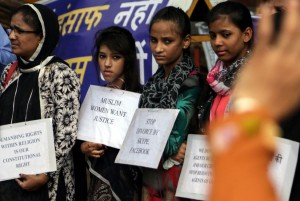 Muslim women protest the talaq, or instant divorce practice, in Mumbai on September 6, 2016. The Indian Supreme Court found the practice unconstitutional earlier this year, and on Wednesday the Indian government criminalized it, calling for jail terms for husbands divorcing wives by announcing the intention three times. File photo by Divyakant Solanki/EPA-EFE/UPI