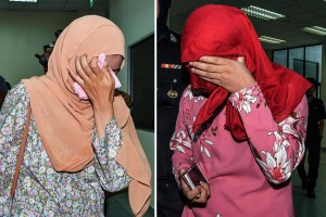 A composite image shows two women who were each caned six times after they pleaded guilty to homosexual activity at the Sharia High Court in the state of Terengganu, Malaysia, on Monday. Photo by EPA-EFE