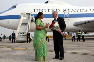 Indian Defense Minister Nirmala Sitharaman welcomes U.S. Defense Secretary James Mattis Wednesday upon his arrival at the airport in New Delhi, India. After departing India, Mattis made a surprise visit to Kabul, Afghanistan. Photo by India Ministry of Defense/EPA-EFE