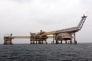 A general view of the South Pars quarter one natural gas platform in the Persian Gulf waters near the southern port of Asalouyeh, Iran, in 2011. OPEC production was up in August, according to a new S&P Global Platts survey. File Photo Maryam Rahmanian/UPI | License Photo