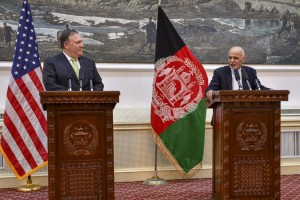 Secretary of State Mike Pompeo (L) participates in a press conference with Afghanistan President Ashraf Ghani in Kabul, Afghanistan on July 9. File Photo courtesy of the U.S. Department of State/Flickr