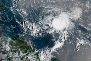 Tropical Storm Isaac is seen in the Caribbean Wednesday as it heads toward Central America. Image courtesy NOAA
