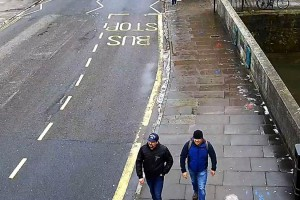 Surveillance footage shows Alexander Petrov and Ruslan Boshirov, two suspects charged in the poisoning of ex-Russian spy Sergei Skripal. Photo courtesy Met Police UK/UPI | License Photo