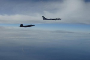 "Two U.S. F-22 ""Raptor"" fighter jets intercepted two Russian TU-95 ""Bear"" bombers near Alaska on Tuesday, according to the North American Aerospace Defense Command. Photo courtesy NORAD"