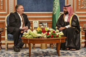 U.S. Secretary of State Mike Pompeo meets with Saudi Crown Prince Mohammed bin Salman in Riyadh on October 16, 2018. Pompeo traveled to Saudi Arabia to discuss the mystery surrounding the disappearance of reporter Jamal Khashoggi. Khashoggi, a U.S. resident and Washington Post contributor vanished from the Saudi consulate in Istanbul two weeks ago, leading to reports that he was killed on site. Photo by U.S. Department of State/UPI | License Photo