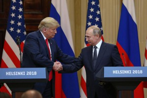 President Donald Trump shakes hands with Russian President Vladimir Putin at the Presidential Palace in Helsinki, Finland, on July 16. File Photo by David Silpa/UPI | License Photo