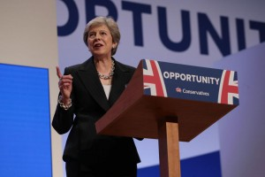 British Prime Minister Theresa May delivers her keynote leader's speech at the 2018 Conservative Party Conference at the ICC Center, Birmingham on Wednesday. Photo by Hugo Philpott/UPI | License Photo