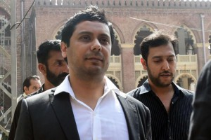 Newspaper editor Cyril Almeida arrives at a Lahore, Pakistan, court on Monday. He and two former Pakistani prime ministers, Nawaz Sharif and Shahid Abbasi, face charges of treason. Photo by Rahat Dar/EPA-EFE