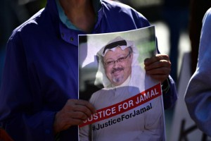 Protesters with the activist group Code Pink demonstrate Friday outside the White House to call attention to the disappearance of Saudi Arabian journalist Jamal Khashoggi. On Saturday, friends of the journalist called on the Saudi government to hand over his remains so they could have a funeral. Photo by Kevin Dietsch/UPI | License Photo