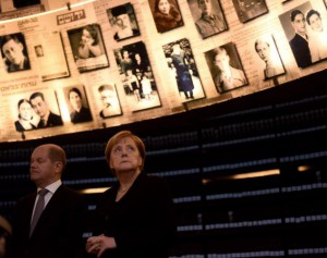 German Chancellor Angela Merkel visits the Hall of Names in the Yad Vashem Holocaust Museum in Jerusalem. Israel formed as a nation three years after World War II and Germany has paid reparations to survivors of the Holocaust. In the years after the war the two countries have formed a bond and a joint dedication to abolishing anti-Semitism. Photo by Debbie Hill/UPI | License Photo