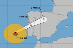 Hurricane Leslie, which became a named storm on Sept. 23, was moving quickly toward the Iberian Peninsula, the National Hurricane Center said Saturday. Image courtesy NOAA