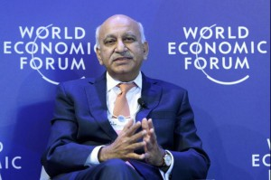 Indian Minister of State for External Affairs M.J.. Akbar speaks during a panel session during the 48th annual World Economic Forum in Davos, Switzerland Jan. 24. Akbar has resigned while he faces at least a dozen claims of sexual harassment. Photo by Laurent Gillieron/EPA
