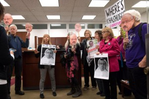 Members of the activist group Code Pink occupy the office of Sen. Jack Reed, D-RI, as they protest U.S. arms sales to Saudi Arabia and the the U.S. involvement in the Saudi-led war in Yemen. Photo by Kevin Dietsch/UPI | License Photo