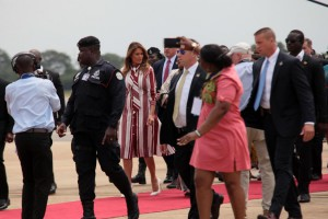 U.S. first lady Melania Trump speaks with Ghana first lady Rebecca Akufo-Addo upon her arrival in Accra, Ghana, on Tuesday. The trip is Trump's first abroad without President Donald Trump. Photo by Christian Thompson/EPA-EFE