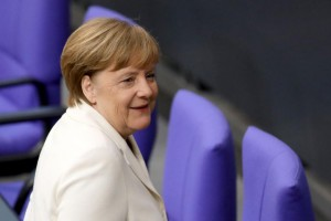 German Chancellor Angela Merkel will step down as leader of the Christian Democratic Union after the party had devastating losses Sunday. Photo by Omer Messinger/EPA-EFE