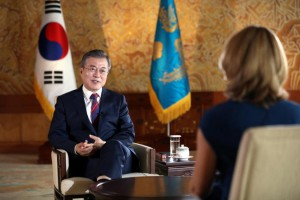 President Moon Jae-in holds speaks with BBC News at the presidential office in Seoul on Friday. Photo by Yonhap