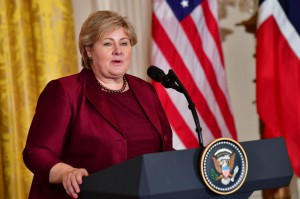 Norwegian Prime Minister Erna Solberg speaks to reporters at a news conference with U.S. President Donald Trump at the White House on January 10. Photo by Kevin Dietsch/UPI | License Photo