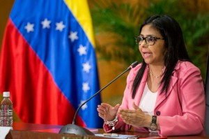 Venezuelan Vice President Delcy Rodriguez speaks in February 2017, when she was foreign minister, during an Organization of the Petroleum Exporting Countries press conference in Caracas. File Photo by EPA