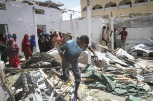 U.S. airstrikes targeted terrorists in Somalia in an effort to stop the extremists from conducting bombings, such as this one from September. Photo by Said Yusuf Warsame/EPA-EFE