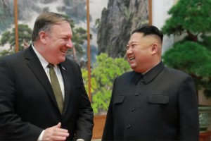 Secretary of State Mike Pompeo appears with North Koren's leader Kim Jong-un on Sunday in Pyongyang, North Korea. This photo was posted on President Donald Trump's Twitter account.
