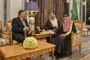 Secretary of State Mike Pompeo meets with Saudi King Salman bin Abdul-Aziz at the Royal Court in Riyadh, Saudi Arabia on Tuesday. Photo by U.S. Department of State/UPI | License Photo